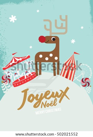 Joyeux noel means merry christmas french stock vector 502021552 joyeux noel means merry christmas in french white christmas reindeer christmas invitation christmas stopboris Gallery