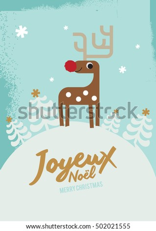 Joyeux noel means merry christmas french stock vector 502021555 joyeux noel means merry christmas in french white christmas reindeer christmas invitation christmas stopboris Gallery