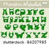 Joyful Cartoon font - from A to Z, monster green capital letter - stock vector