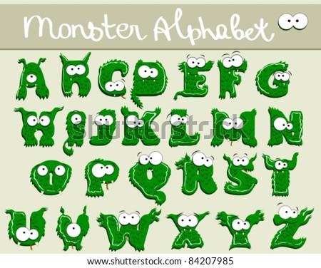 Joyful Cartoon font - from A to Z, monster green capital letter - stock vector