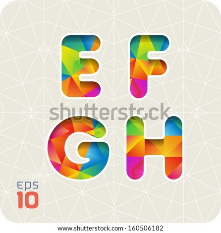 Joyful 3d set of cut paper vector alphabet. The capital letters E, F, G, H. Multicolored gradient. Eps 10. The rest of  letters, symbols and numbers of the alphabet in my portfolio. - stock vector