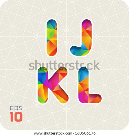 Joyful 3d set of cut paper vector alphabet. The capital letters I ,J, K, L. Multicolored gradient. Eps 10. The rest of  letters, symbols and numbers of the alphabet in my portfolio. - stock vector