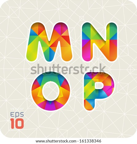 Joyful 3d set of cut paper vector alphabet. The capital letters M, N, O, P. Multicolored gradient. Eps 10. The rest of letters, symbols and numbers of the alphabet in my portfolio. - stock vector