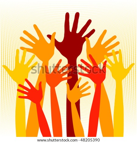 Joyful group of hands illustration.