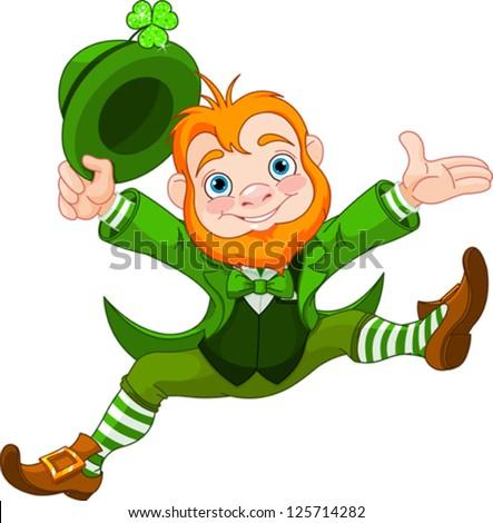 Joyful jumping leprechaun. - stock vector