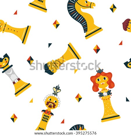 Joyful pattern with cute chess figures. Bright chess pieces in a seamless vector pattern. Play around with them at your leisure - stock vector