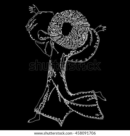 Joyful person running with raised hands. World of Woman graphical art series. Vector Illustration