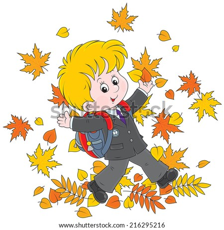 Joyful schoolboy throws up colorful leaves - stock vector