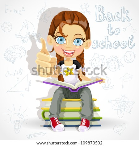 Joyful schoolgirl reading a book while sitting on a pile of books - stock vector