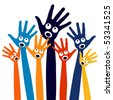 Joyful singing people hands. - stock vector