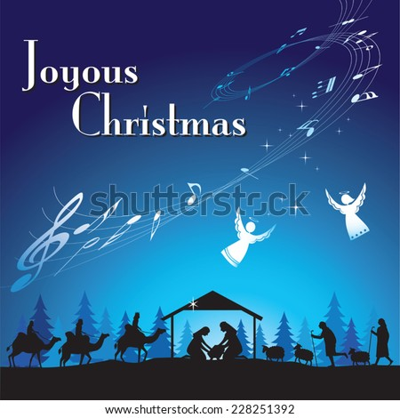 Joyous Christmas. Vector illustration the traditional Christian Christmas Nativity scene. - stock vector