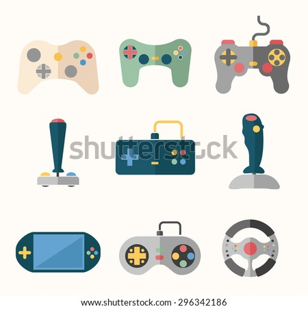 Joystick flat icons set. Play gaming, console and button, player and game. Vector illustration - stock vector