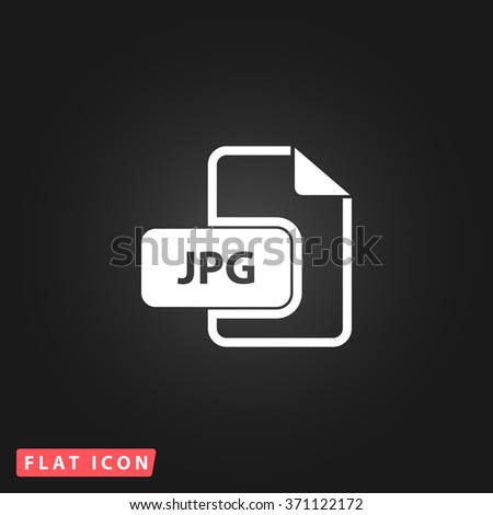 JPG image file extension. White flat simple vector icon on black background. Icon JPEG JPG. Icon Picture Image. Icon Graphic Art. Icon EPS AI. Icon Drawing Object. Icon Path UI - stock vector