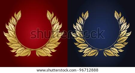 Jubilee, golden laurel wreath - stock vector