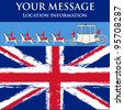 Jubilee Message, vector flyer for a British royal celebration, with a State Coach and a grunged Union Jack - stock photo