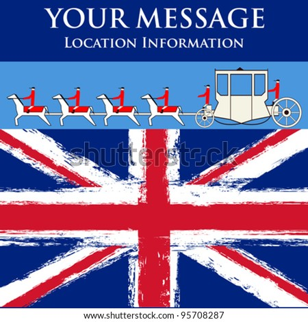 Jubilee Message, vector flyer for a British royal celebration, with a State Coach and a grunged Union Jack - stock vector