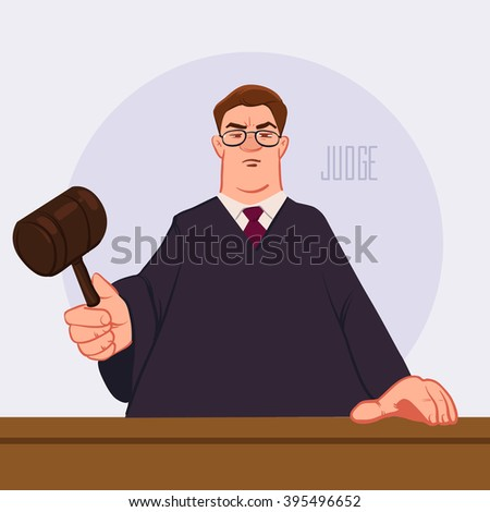 judge accuses, cartoon vector illustration, character, man, judge man in courthouse at tribunal with gavel, civil and criminal cases public trial, law and justice  - stock vector