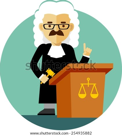 Judge concept in a wig and gown with a gavel  - stock vector