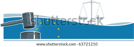 Judge Gavel (Hammer) on European Union Flag Background - stock vector