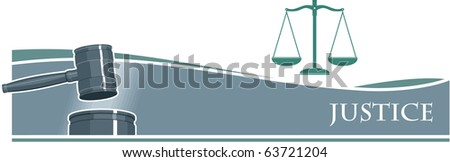 Judge Gavel (Hammer) on Silver Banner Background - stock vector