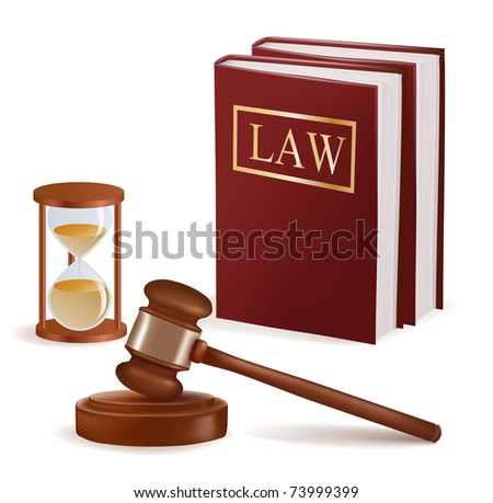 Judge gavel, sandglass and law books. Photo-realistic vector.
