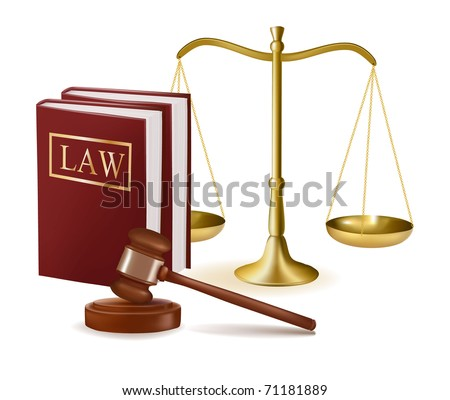 Judge gavel with law books and scales. Vector illustration. - stock vector