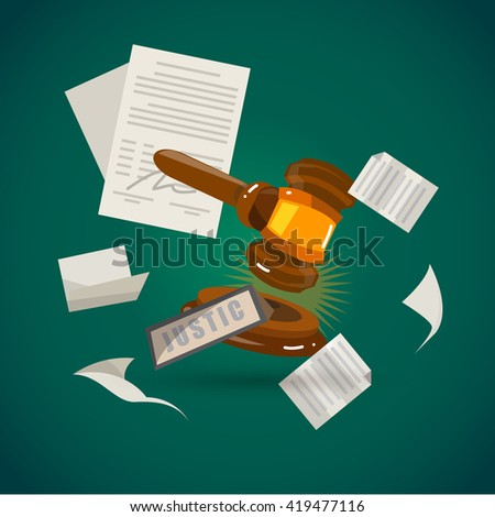 judge gavel with sheet of paper. Justice concept - vector illustration - stock vector