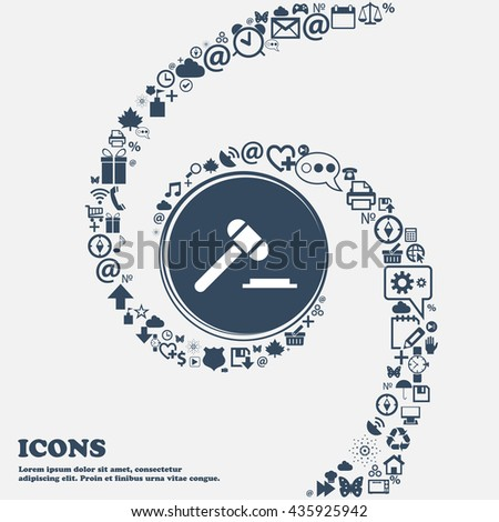 judge hammer icon in the center. Around the many beautiful symbols twisted in a spiral. You can use each separately for your design. Vector illustration - stock vector