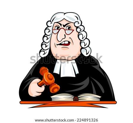 Judge make verdict. Vector illustration in cartoon style - stock vector