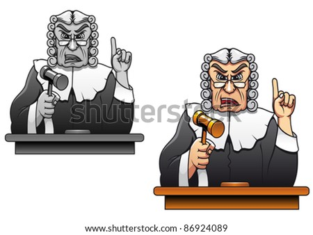Judge with gavel for law concept design in cartoon style. Rasterized version also available in gallery - stock vector
