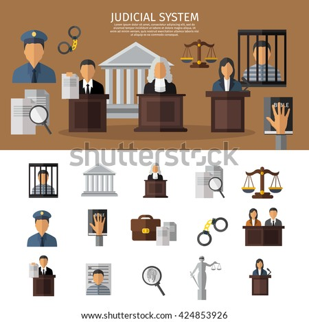Judical system banner with sitting in the courtroom jurors the judge and prisoner in jail vector illustration - stock vector