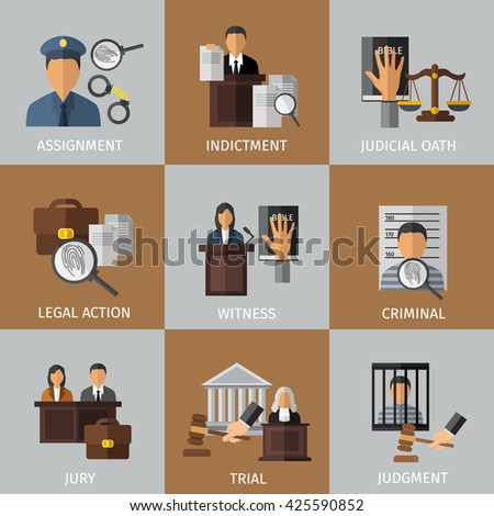 Judicial system colored icon set - stock vector
