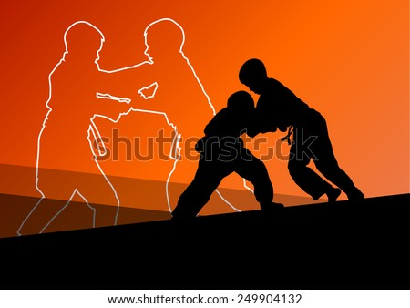Judo fight active young boy martial arts sport silhouettes abstract background illustration vector - stock vector