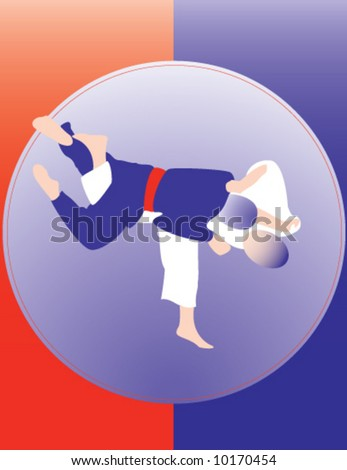 Judo throw poster number 2. Please, see others in similar style in my portfolio. Two color design. - stock vector