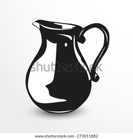 Jug. Vector illustration. Black and white view.