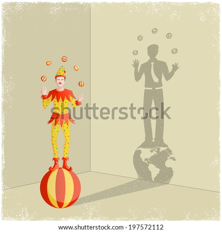 Juggling clown casting shadow of businessman in vector - stock vector