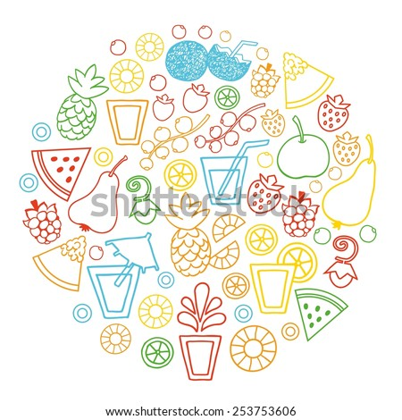 Juice and  fruit color set vector icons.Food and drink background. - stock vector