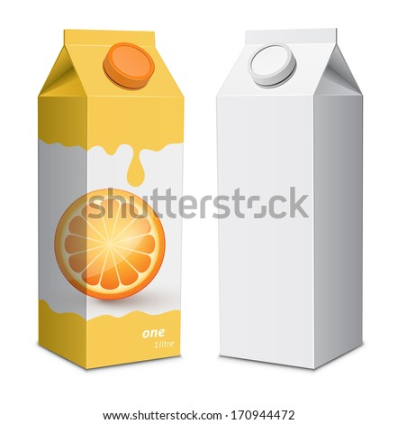 Juice box template. Juice cartons with screw cap. Vector ...