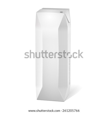 Juice Carton Package Blank White. Products On White Background Isolated. Ready For Your Design. Product Packing. Vector EPS10  - stock vector