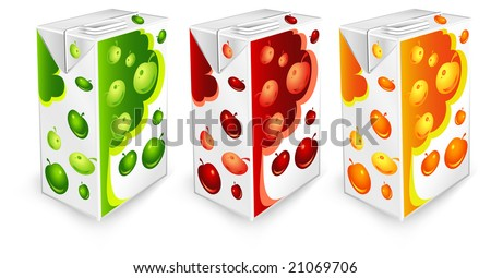 Juice Carton Packages With Apple Drawing On White