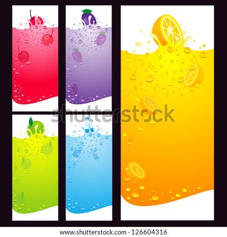 juice fruit liquid drops splash colorful element background / rgb, eps8, no transparent - stock vector