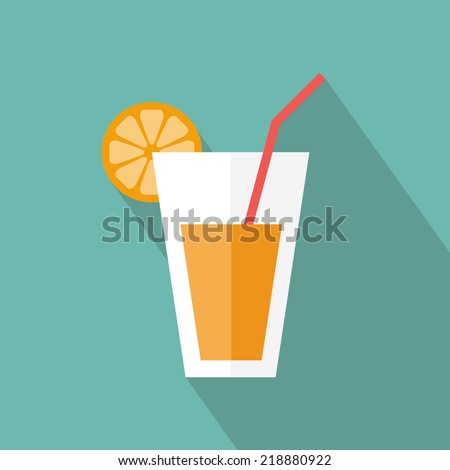 Juice glass icon. Flat icon with long shadow. Vector illustration - stock vector