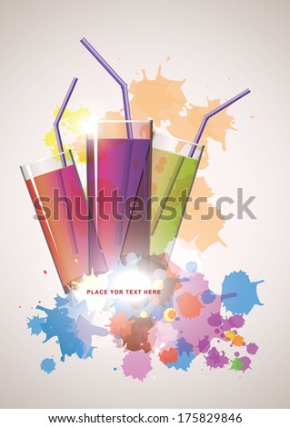 juice glass with  splashes vector illusrtation - stock vector