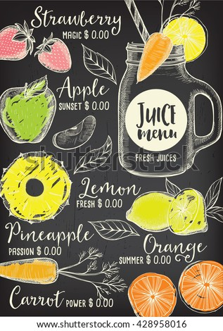 Juice Menu Placemat Drink Restaurant Brochure Stock Vector