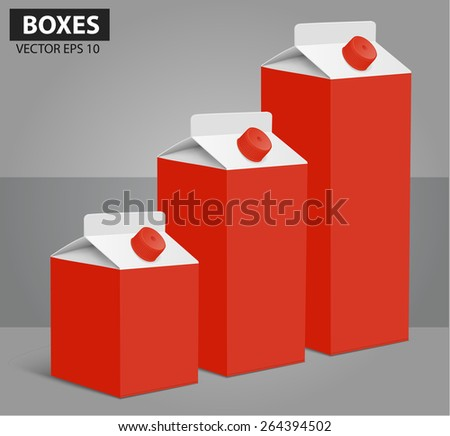Juice milk blank carton boxes packages. vector illustration - stock vector