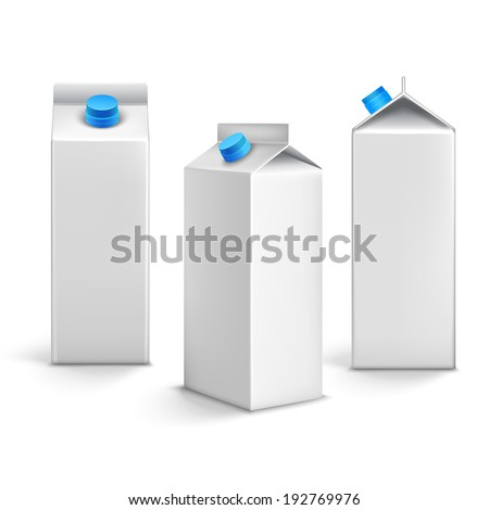 Juice milk blank white carton boxes packages 3d isolated icons vector illustration - stock vector
