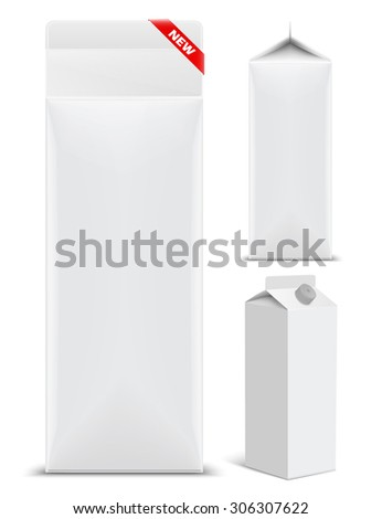 Juice milk blank white carton boxes packages. New Product concept. vector illustration