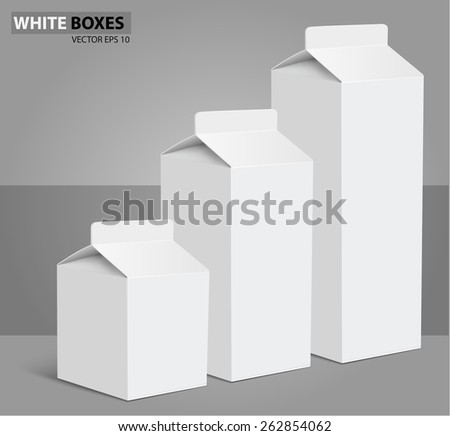 Juice milk blank white carton boxes packages. vector illustration