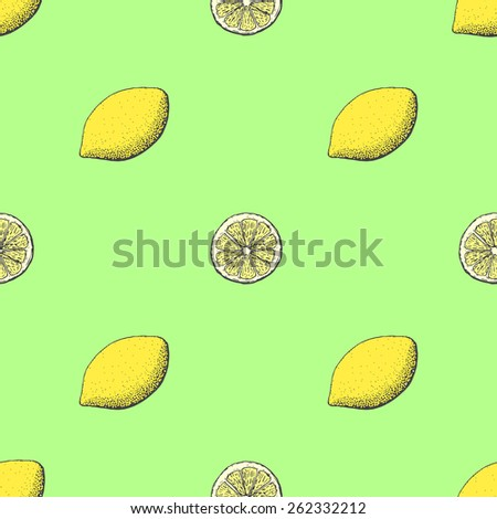 Juicy and fresh lemon seamless pattern - stock vector