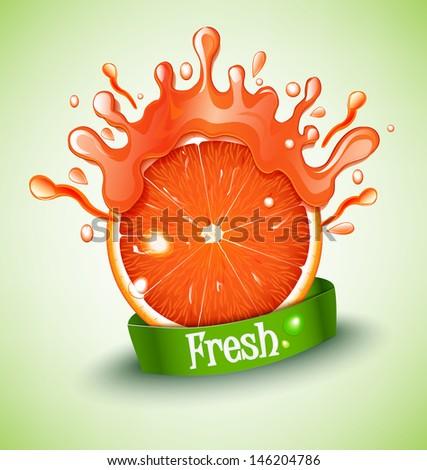 Juicy grapefruit - stock vector